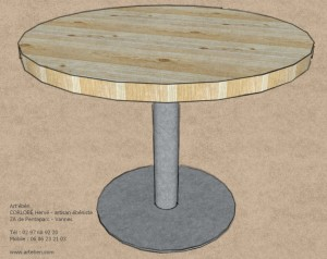 table ronde metal frene - Art eben 30-12-13