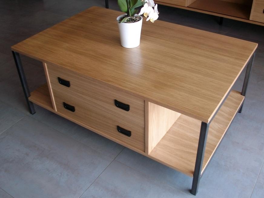 table basse bois et métal - art'ébèn
